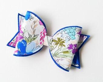 Floral felt fabric hair bow,  You choose headband or hair clip