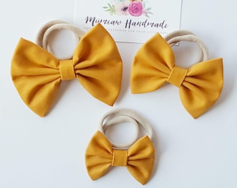 Mustard Fabric Bow Headband, hair Clip, Nylon Headband, Bow Hair Clip , Girls Hair Clip - You Choose Headband or Clip