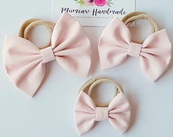 Baby Pink Fabric Bow Headband, hair Clip, Nylon Headband, Bow Hair Clip , Girls Hair Clip - You Choose Headband or Clip