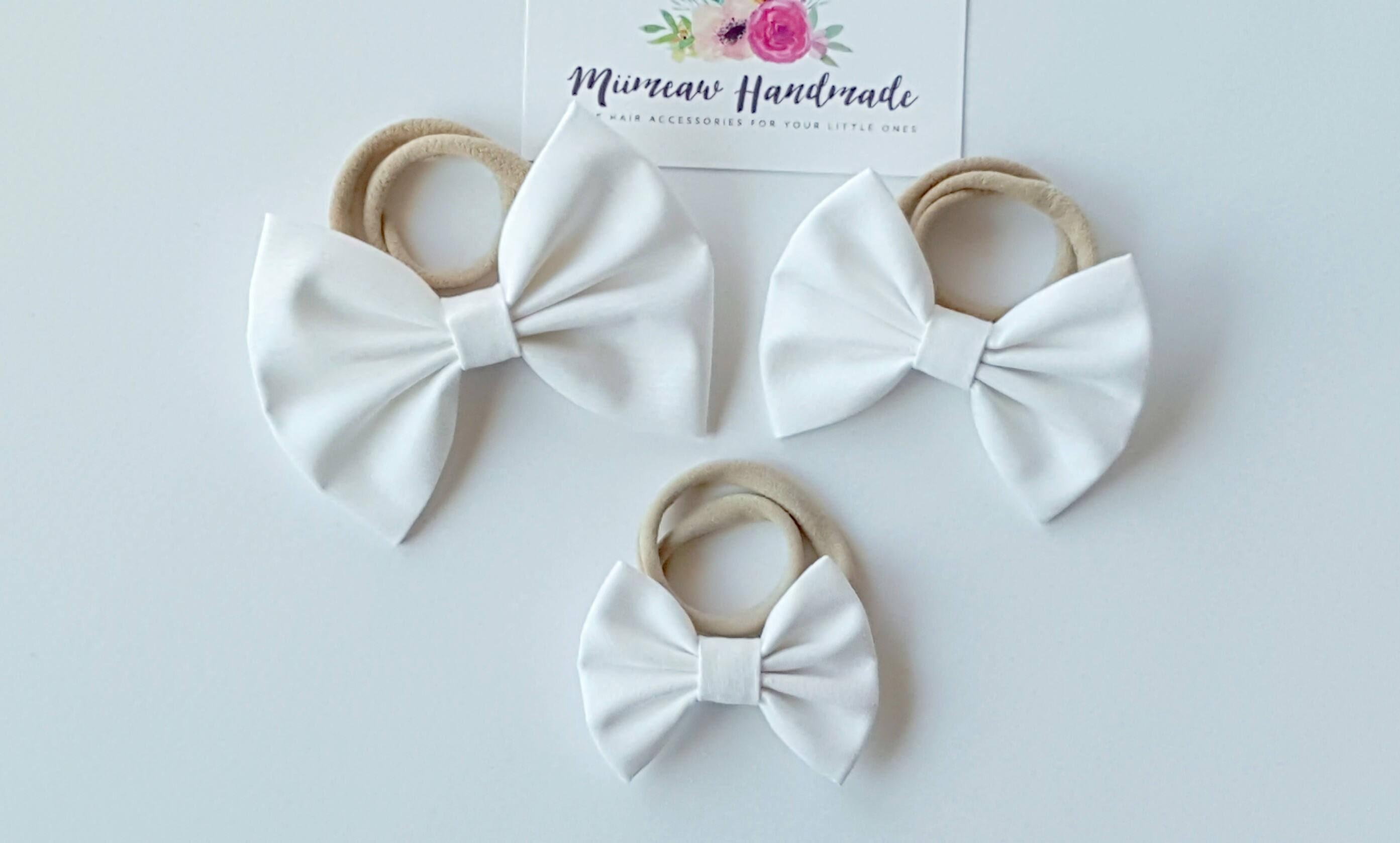30e3ff7fff4e White Fabric Bow Headband hair Clip Nylon Headband Bow Hair
