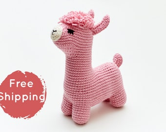 1b66927a61739 Pregnant friend gift for mom to be: pink crochet llama stuffed alpaca  rustic nursery decor present Newly expecting parents favor baby shower