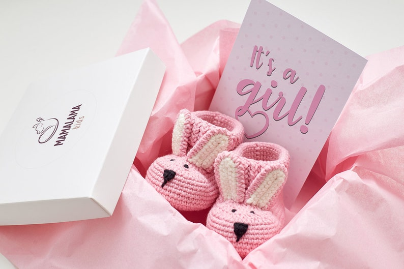 Baby Girl Sprinkle Favor Gift Cute Pink Bunny Booties Funny Clothes Unique Shower Two Year Old Baby Monthly Gift For Goddaughter Welcome Box
