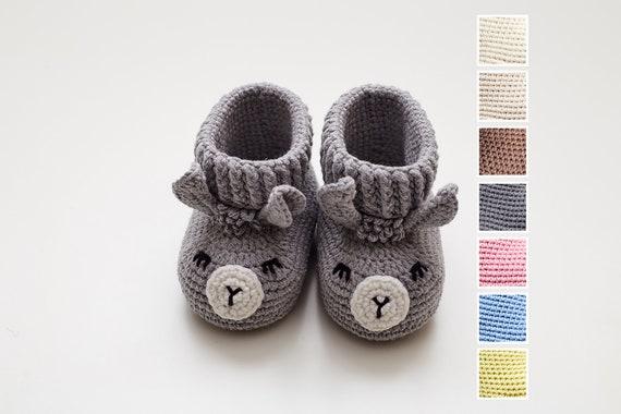 New mom gift basket with grey animal baby slippers. Unique crochet newborn soft sole boots. Cute llama shower gift idea Rustic nursery decor
