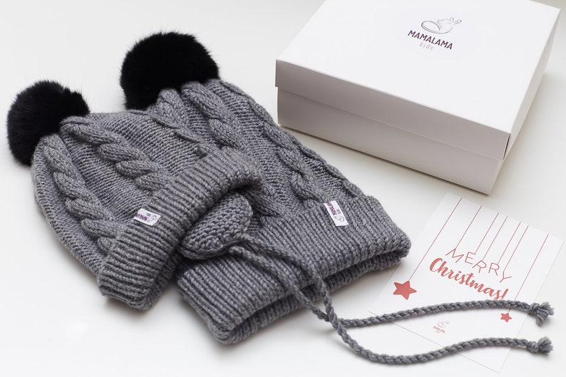 Merry Christmas baby and mother family look hand knit merino wool organic soft grey hats gift set Pregnancy present box for new mom and baby