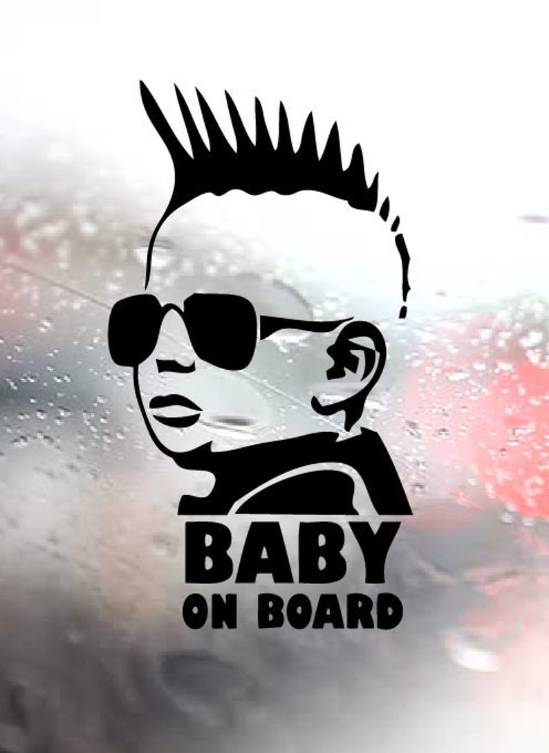 Baby On Board Cool Baby With Sunglasses Car Sticker Decals & Stickers