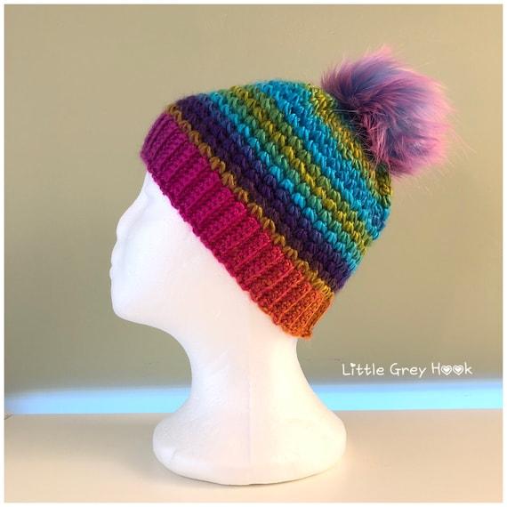 1e2a7b4f470 Handmade Rainbow crochet beanie hat with faux fur pom pom
