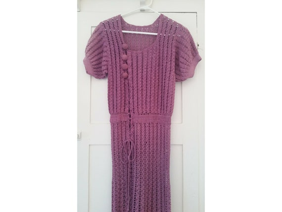 1930s crochet dress with puff sleeves