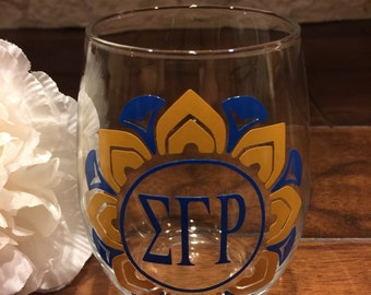 Mandala Design 15oz Stemless Wine Glass (Blue or Gold)
