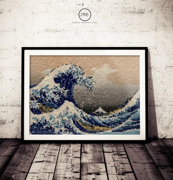 La Grande Vague De Kanagawa Katsushika Hokusai Lowpoly Etsy