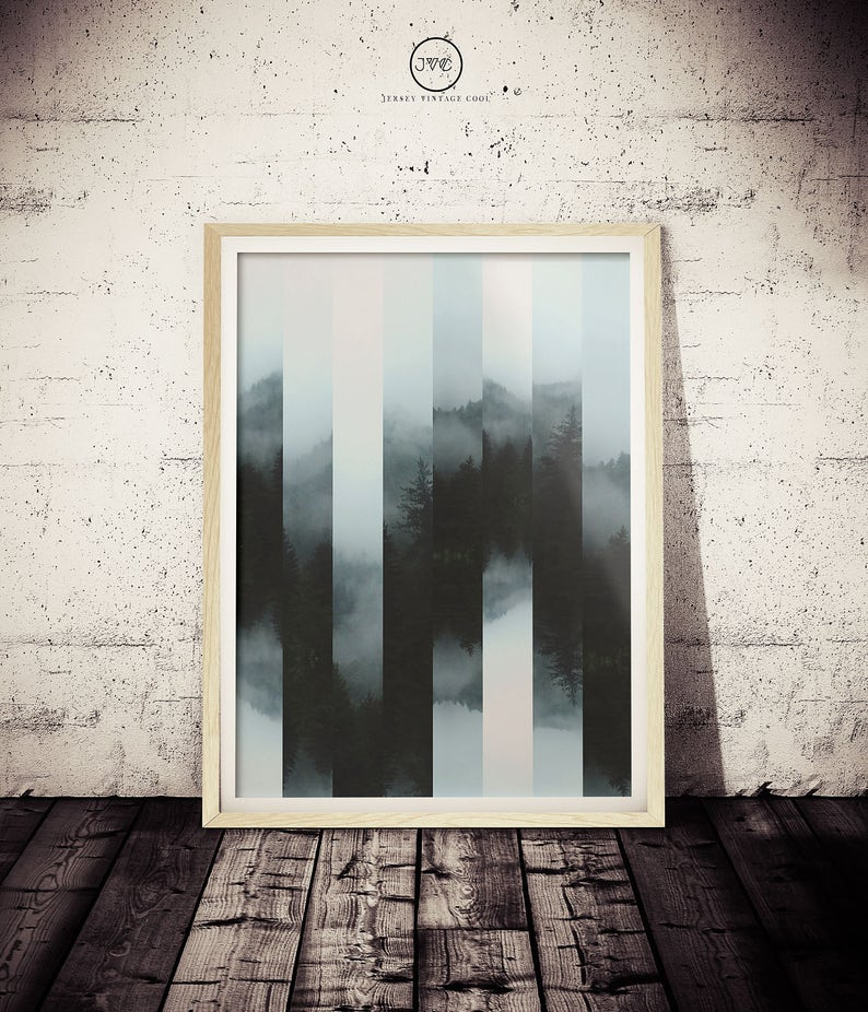 Mysterious Foggy Mountain Art Abstract NATURE Art Print | Etsy