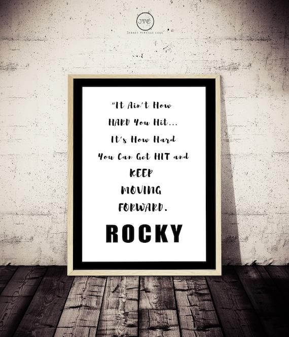 Rocky Poster Inspiracional No Es En Lo Mucho Que Golpear Negro Y Blanco Impresión Tipográfica Tipografía Cita Motivacional Decoración Del