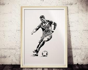 Cristiano Ronaldo Poster, Soccer Superstar Art Print, Minimalist Poster, Paint, Futbol Poster, Black and White Art, CR7, Soccer Poster