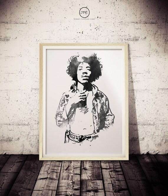Jimi Hendrix Minimalist Watercolor BLACK and White Art Poster | Etsy