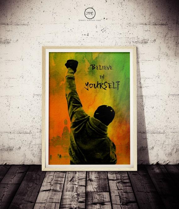 Rocky Inspirador Creo En Ti Ventilador Arte Cartel Original De Acuarela Rocoso De Impresión Decoración De La Pared De Motivación Rocky Balboa