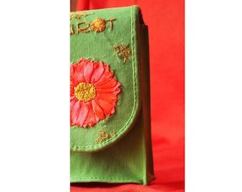 Shiny Tarot Bag, Tarot Case, Flowery Tarot Card Case, Tarot Deck Bag, Embroidered Tarot Card Bag, Tarot Pouch, OOAK Tarot Purse