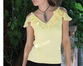 Knitted gypsy top. Cold shoulde top with ruffles