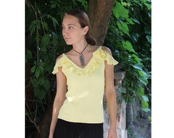 Ruffled halter top Off the shoulder top with straps Tank top Cotton strap top Sexy sleeveless top Summer top Knit top
