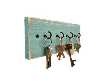 Beach House Key Holder - distressed key holder key hanger wood key rack reclaimed wood wall key holder wood distressed key rack mom gift