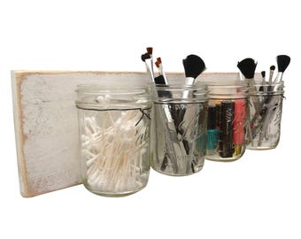 Shabby Chic Makeup Organizer - hanging wall organizer hanging makeup organizer bathroom mason jar set mason jar gift ideas makeup home decor