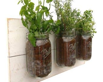 White Mason Jar Planter   Garden, Herb, Hanging, Indoor, Jars, Mason Jar,  Mount, Mounted, Planter, Vertical, Wall, Wood