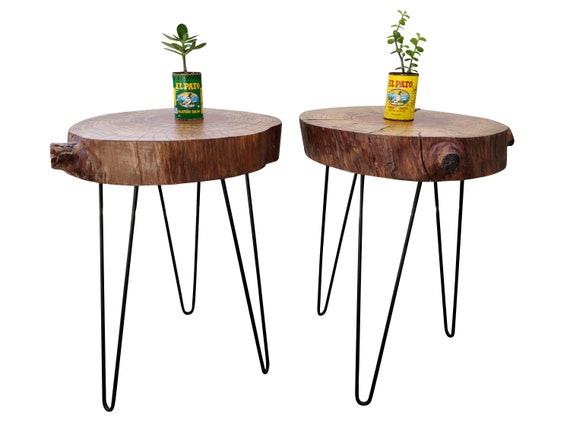 Tree Log End Table Live Edge Side Table Log Slab End Table   Etsy