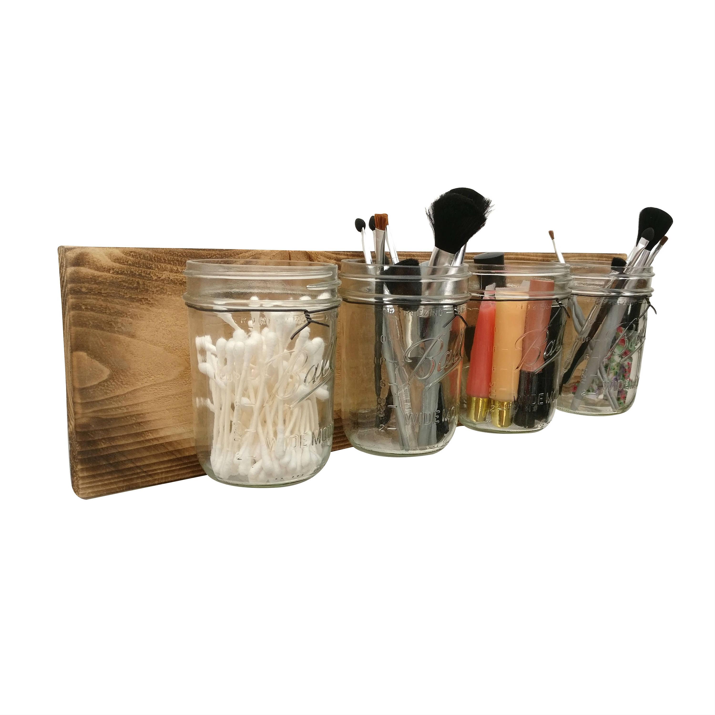 Rustic Makeup Organizer Mason Jar Bathroom Organizer Etsy