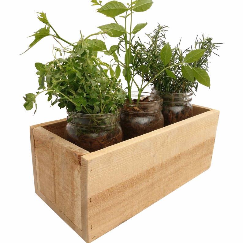 Pallet Wood Planter Box decor garden herb indoor jars | Etsy
