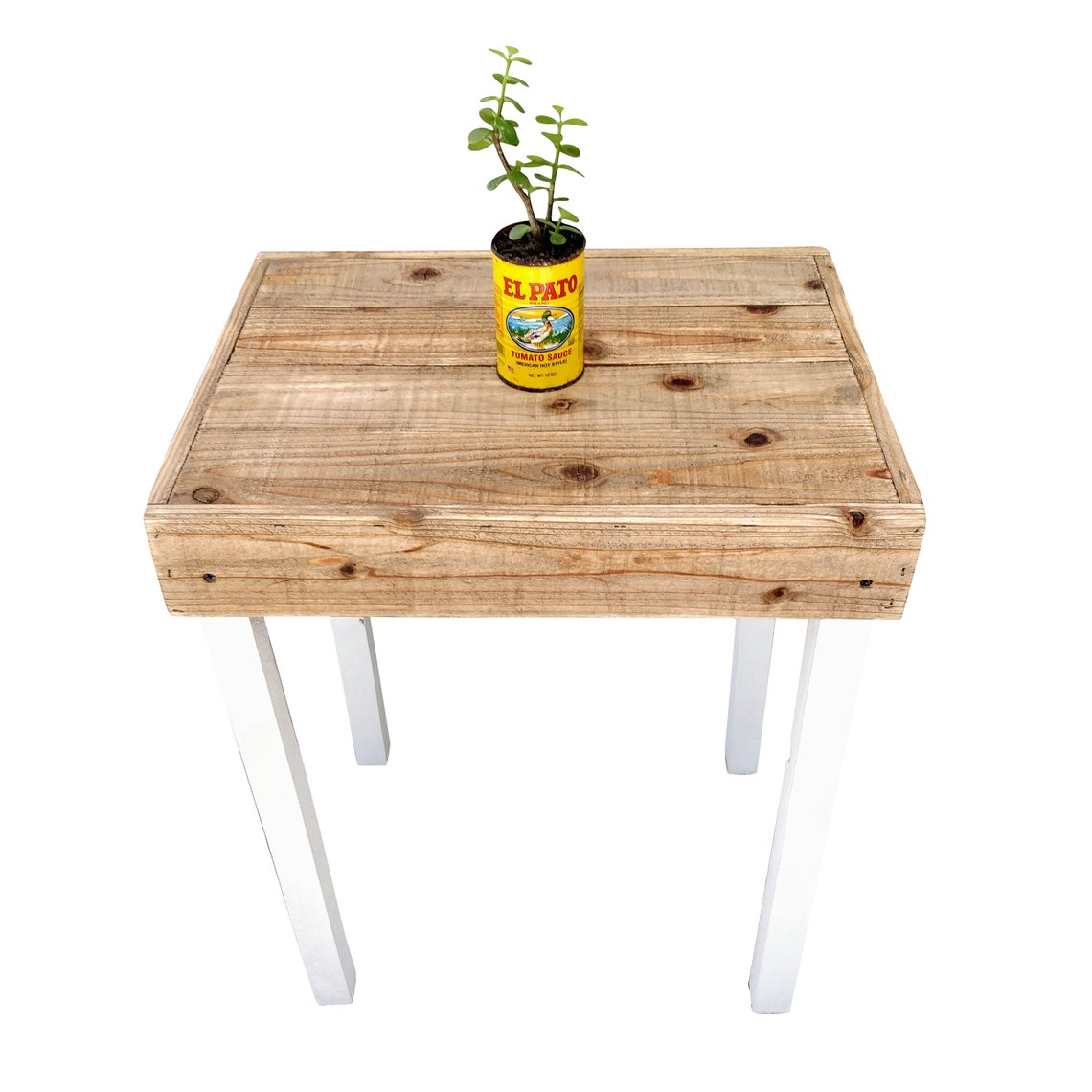 Farmhouse Side Table - accent, bedroom, end table, entryway, furniture, night stand, nightstand, pallet, shabby chic, white, wood,