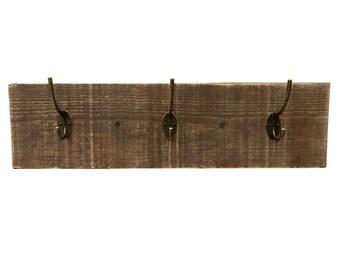 Reclaimed Wood Coat Rack (Dark) - reclaimed wood coat hanger distressed coat hooks reclaimed wood towel hooks distressed hook wood wedding