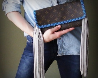 2c6ab3270a18 Fringed Louis Vuitton Pochette GM Crossbody Bag -Blue and Turquoise Boho  Love
