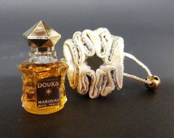 Prince Douka Marquay Paris France Vintage Perfume In Silk Brocade Pouch 99% Full