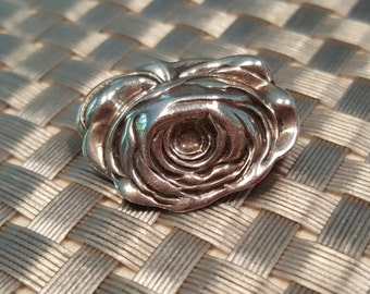 Rose Pin of Silver Vintage Jewelry