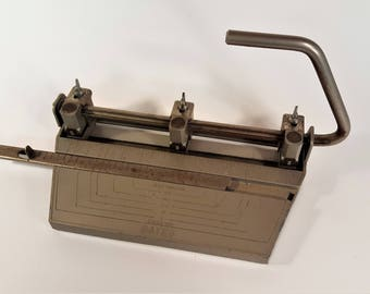 Vintage Office Equipment Bates Hole Punch Made in USA 6 Choices of Spacing Adjustable Hole Punch Removable Tray Desirable Office Decor