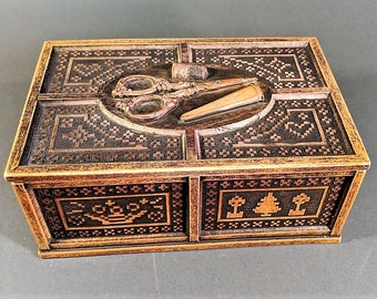 Sewing Box from England Inner Tray Cross Stitch Motif Slightly Raised All Over Scissors, Thimble, Needle Holder on Top Resin