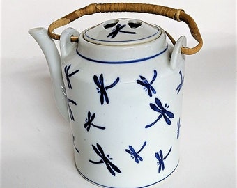 Chinoiserie Porcelain Tea Kettle Dragon Fly Motif Bamboo Handle Top Has Finger Grabs No Chips on Kettle or Lid Bottom Marked Nantucket China