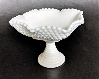 Milk Glass Candy Dish Diamond Cut Scalloped Bon Bon Server Vintage Ribbed Pedestal Relish Server