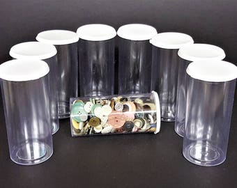 Container Supply Plastic Bottles with Tight Lids for Craft Storage Button Storage Clean Never Used, Buttons Inlcuded