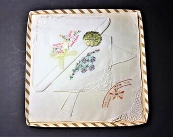 Vintage Handkerchiefs Cotton Lawn Hankies Hand Embroidered NOS