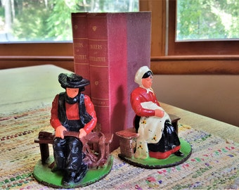 Wilton Cast Iron Bookends Painted Amish Man and Woman Vintage  Signed