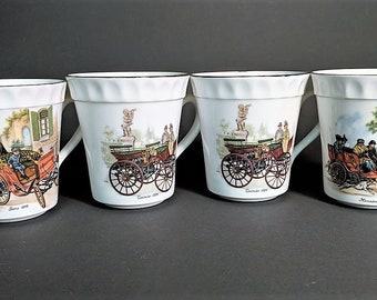 Stafford Porcelain Mugs with Antique Car Motifs Vintage China Lot Grouping