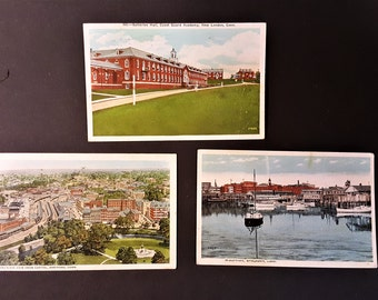 Connecticut Vintage Post Cards Bridgeport Hartford New London Solomon Office Supply Card of Coast Guard Danziger and Berman New Haven Card