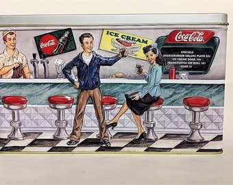 Coca Cola Soda Fountain Tin Vintage Mid Century Motif