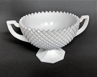 Westmoreland Milk Glass Hobnail Sawtooth Pattern Serving Bowl Grecian Motif Handles No Chip or Cracks