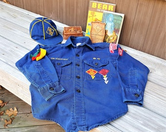 Cub Scout Uniform Shirt and Cap Collection of Trinket Box Plaque Bear Book for Cub Scouts and Handbook for Boys