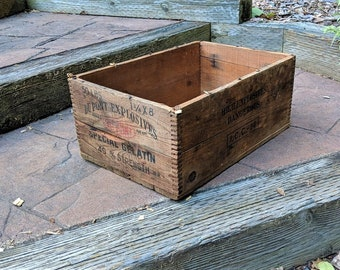 Wooden Vintage Box Dupont Explosives Country Decor Flower Box  Dovetails Pine Industry Chic