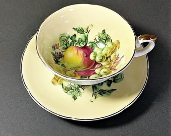 Free Shipping for Royal Grafton Teacup and Saucer Fruit Motif