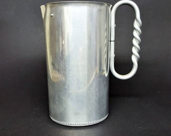 BW Buenilum Aluminum Pitcher Vintage Art Nouveau  Pitcher Twisted Handle Mid Century Dining Picnic Pitcher Table Ware Casual Dining Ware