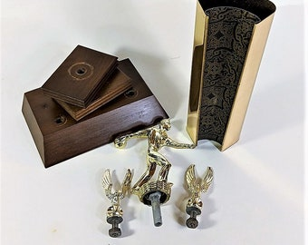 Gold Vintage Bowling Trophy Parts for Crafts Bowling Figure 2 Eagles Walnut Bases Gold Metal Column