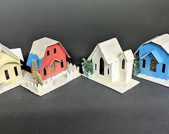Putz Houses Christmas Decor Each w Different Roof Line Made in Japan Christmas Decor