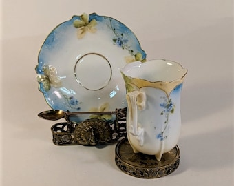 Japan Cup and Saucer Holder Gold Metal Porcelain Cup and Saucer Ornate Japan Demitasse Spoon